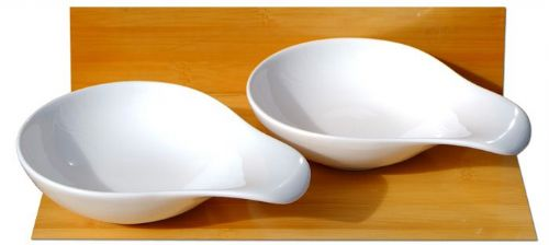 Canapé spoons sauce and condiment dishes round handled X 2 white - MEDIUM